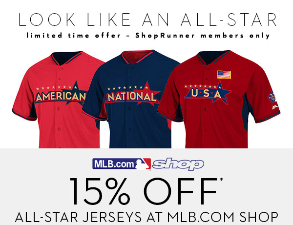 Look like an ALl Star - 15% off all All-Star jerseys at MLB Store